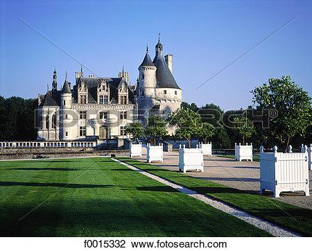 Stock Photo of France, Touraine, Chenonceaux, castle f0015332.