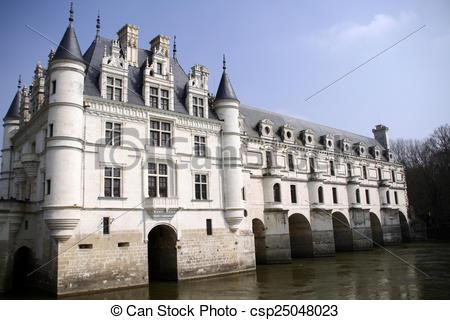 Clip Art de chenonceaux, château.
