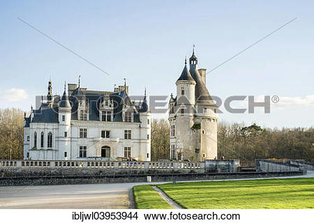 """Stock Photo of """"Front of Chateau de Chenonceau castle and Tour des."""