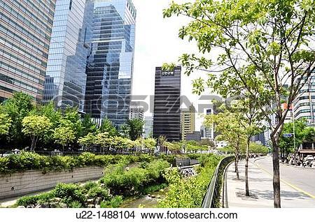 Stock Photo of Seoul (South Korea): the Cheonggyecheon Stream u22.