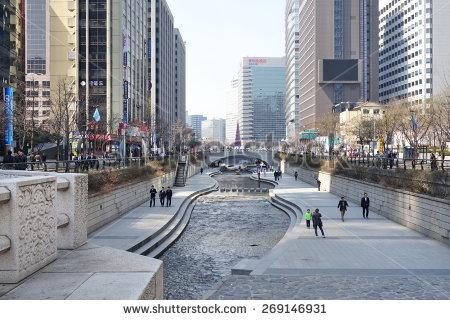 Cheonggye River Stock Photos, Royalty.