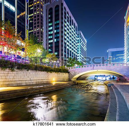 Stock Photography of Cheonggyecheon Stream in Seoul k17801641.