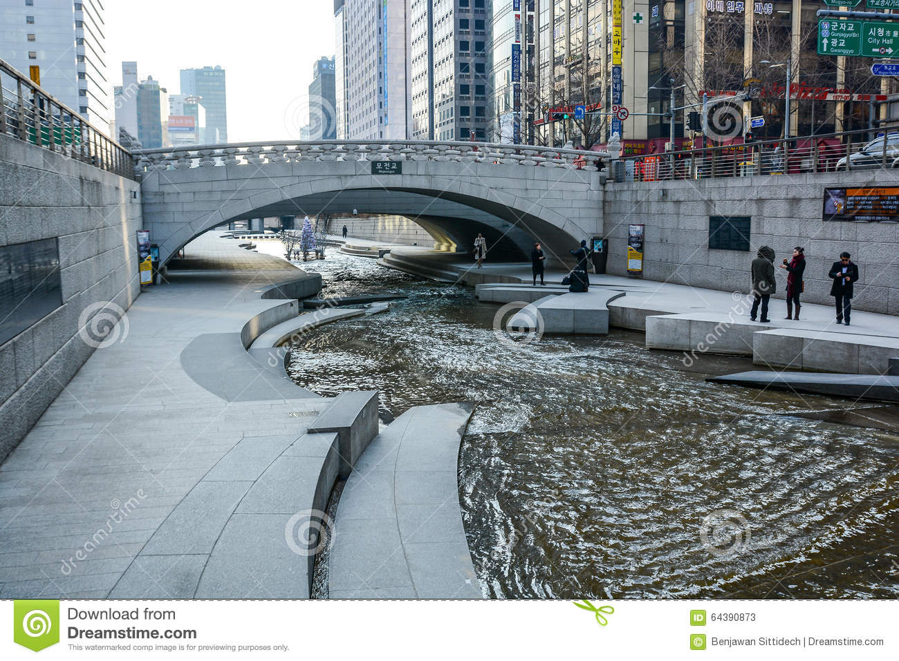 Cheonggyecheon Stream In Winter, Seoul, South Korea Editorial.
