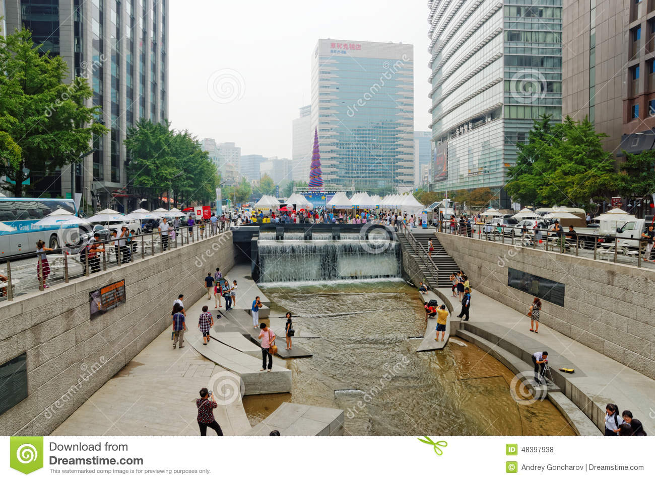 Cheonggyecheon Stream In Seoul, South Korea Editorial Stock Photo.