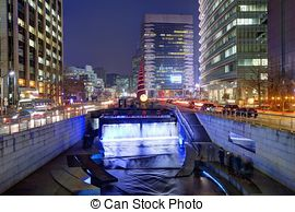 Stock Photography of Cheonggyecheon Stream in Seoul.