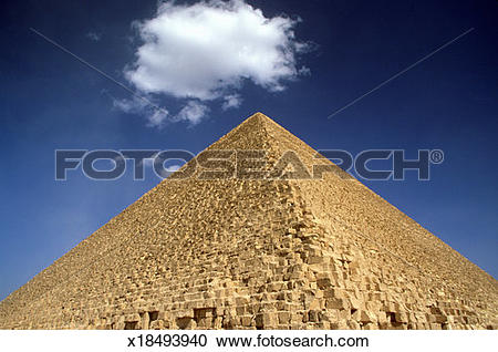 Stock Photography of Great Pyramid of Cheops and a single cloud on.