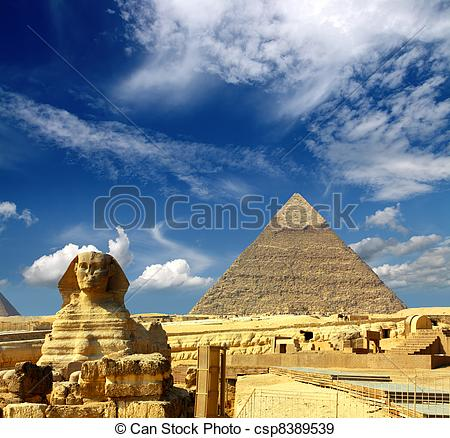 Stock Photographs of egypt Cheops pyramid and sphinx.