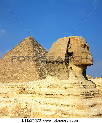 Stock Photography of egypt Cheops pyramid and sphinx k11274470.