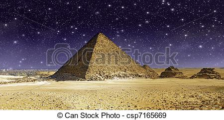 Stock Photographs of Stars and Sky over the Great Cheops Pyramid.