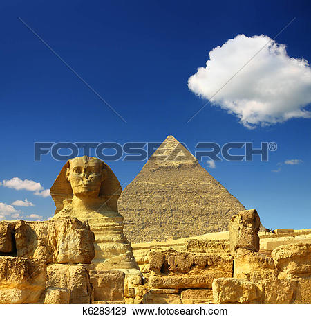 Stock Photograph of egypt Cheops pyramid and sphinx k6283429.
