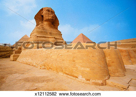 Stock Photo of The Sphinx at the Giza pyramid of Chephren, Egypt.