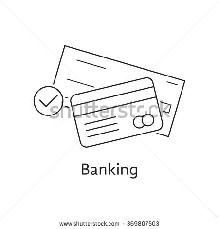 Thin Line Bank Check And Credit Card. Concept Of Security, Billing.