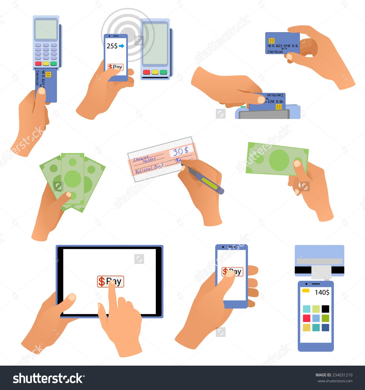 All For Business Payments: Hands Holding Cards, Pos Terminal.