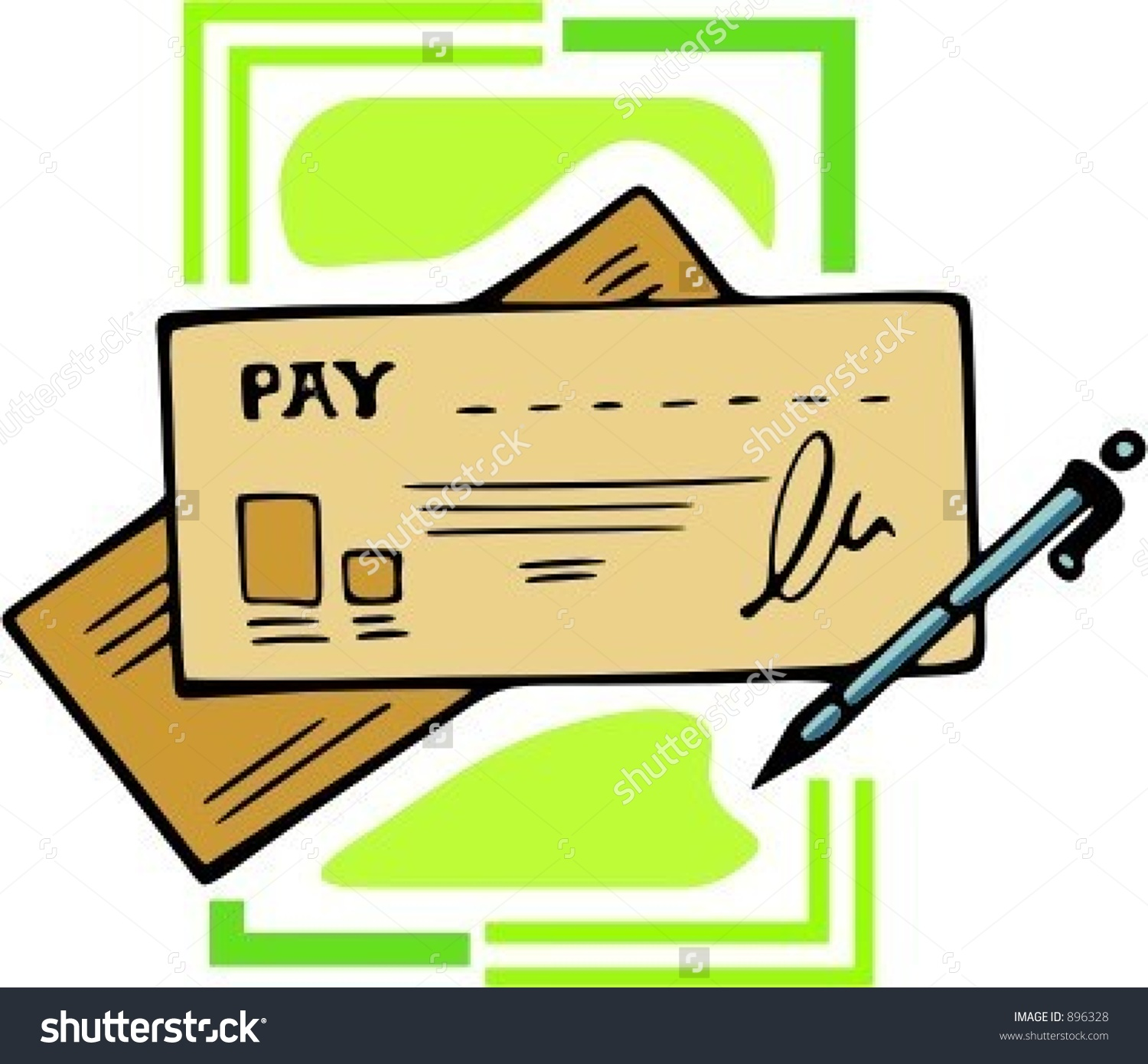 Pay Checkcheque With Pen.Vector Illustration.