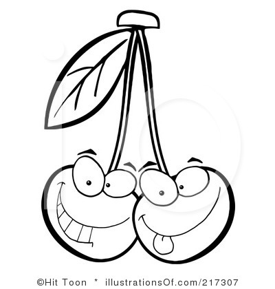 cherries clipart black and white #12