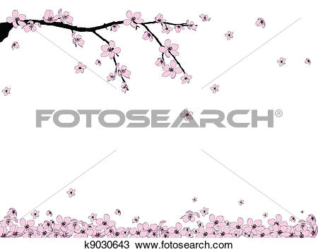 Clipart of Branch of beautiful cherry blossom k9030643.