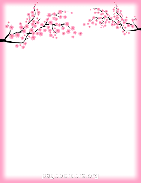 Cherry Blossom Border: Clip Art, Page Border, and Vector Graphics.