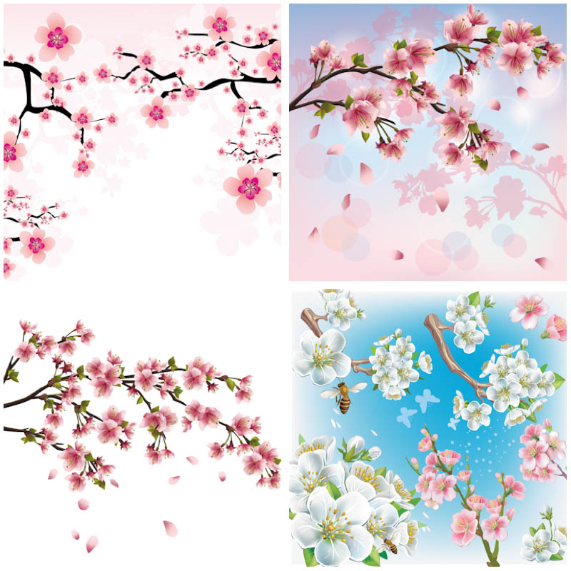 Set of 4 vector cherry blossom backgrounds with tree branches and.