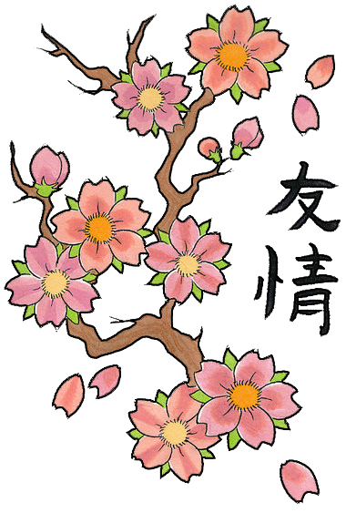 Cherry Blossom Tree Drawing clipart.