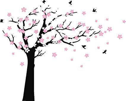 MAFENT Large Cherry Blossom Tree Blowing in The Wind Tree Wall Decals Wall  Sticker Vinyl Wall Art Kids Rooms Teen Girls Boys Wallpaper Wall Stickers.