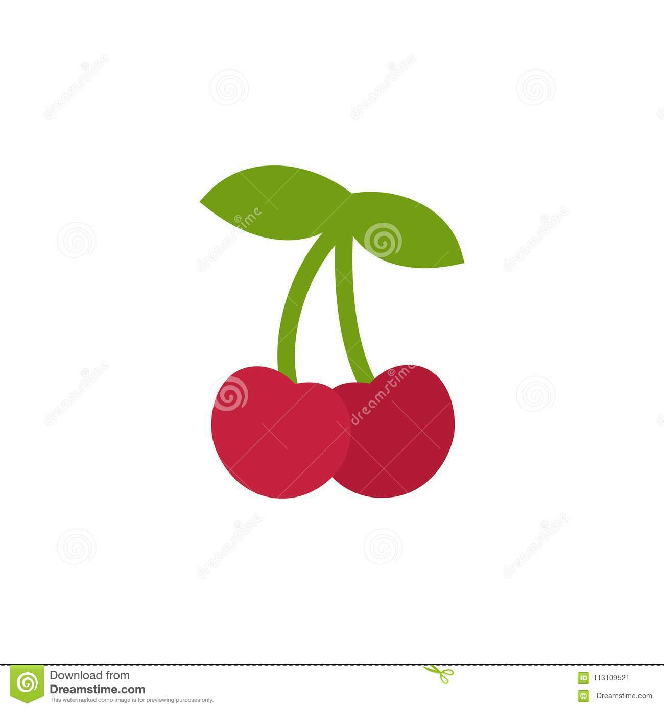 Cherry Icon, Simple Design, Cherries Icon Clip Art. Stock Vector.