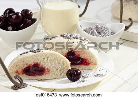 Stock Photo of Yeast dumplings with cherry filling, poppy seed and.