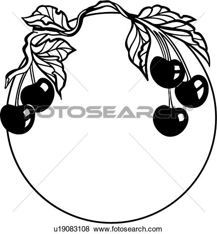 Clip Art of , border, cherries, cherry, circle, fancy, food, frame.