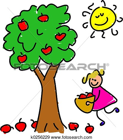 Family apple picking clipart.