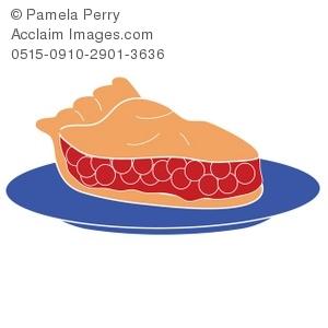 Clip Art Illustration of a Piece of Cherry Pie.