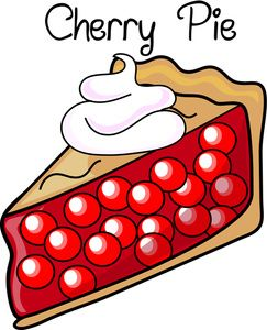 Dessert Clipart Image: Fresh Baked Cherry Pie with Whipped Cream.