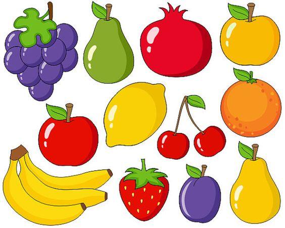 Cute Fruits Digital Clip Art, Grapes, Apple, Bananas, Pear, Plum.