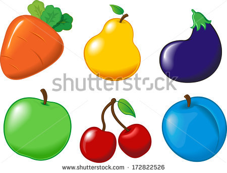 Vector Images, Illustrations and Cliparts: Set eggplant carrot.