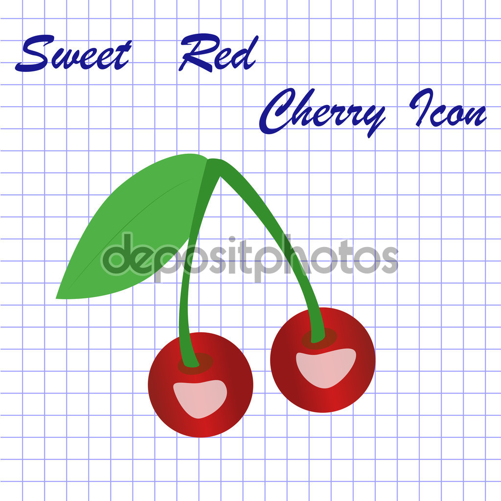 Cherry on notebook sheet — Stock Vector © AKorolchuk #84597062.