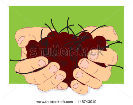 Human Handful Harvest Of Cherry Fruits Outside The Sheet Of Page.
