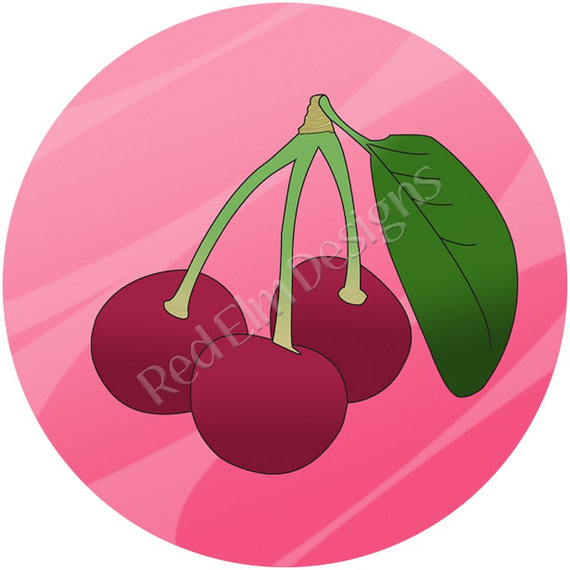 Cherry Cherries Fruit Stickers Sheet of 20 2 round. by redelmps.