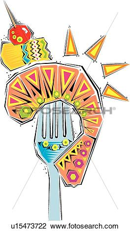 Clipart of Fiesta image of fork with shrimp, pineapple and a.