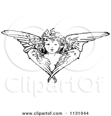 Clipart Of A Retro Vintage Black And White Cherub Angel And Wings.