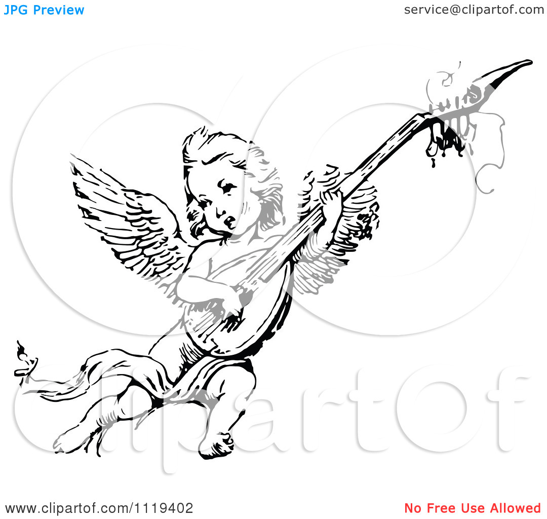 Clipart Of A Retro Vintage Black And White Cherub Playing An.