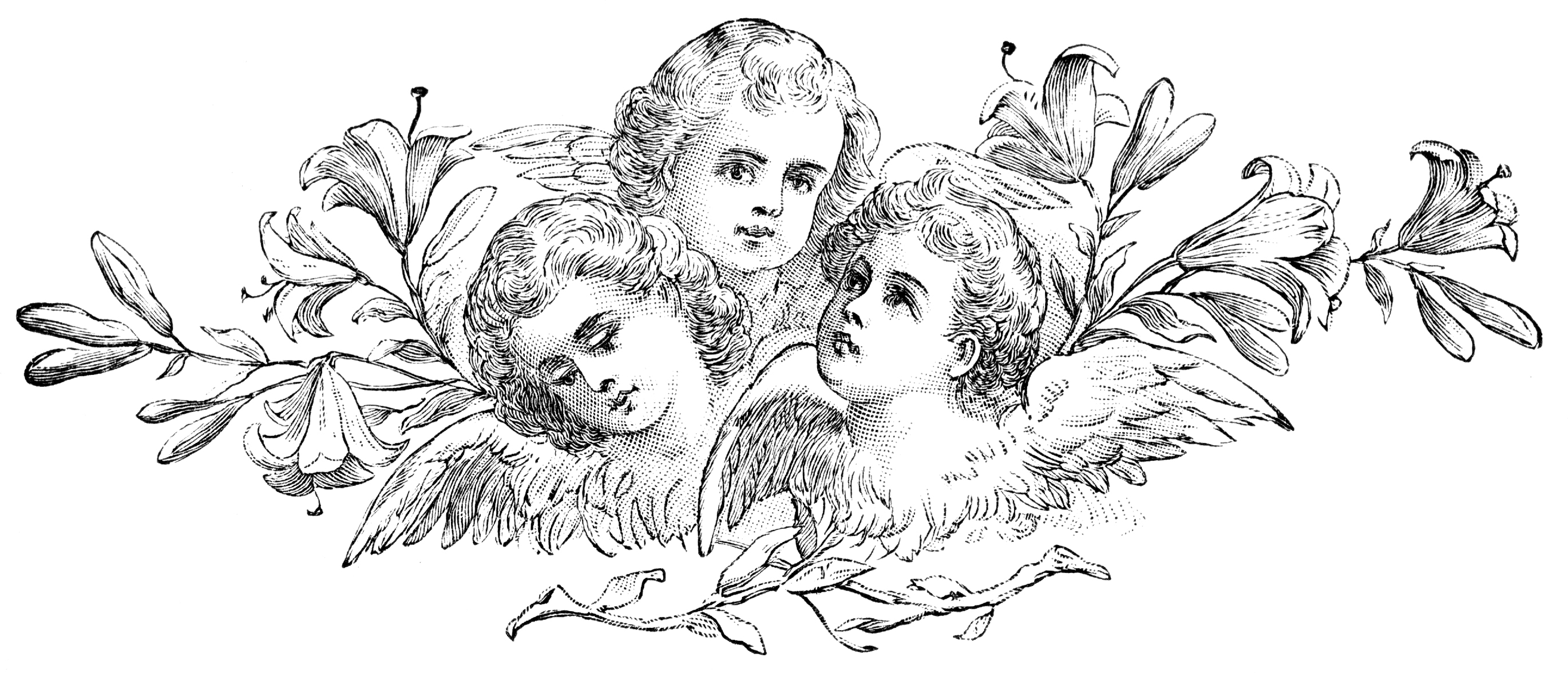 Sad and Sweet Gothic Cherubs Clip Art Decorative Element.