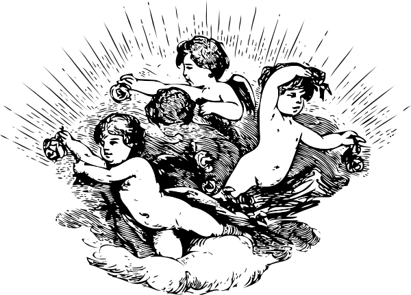 Cherubs In Cloud clip art Free Vector / 4Vector.