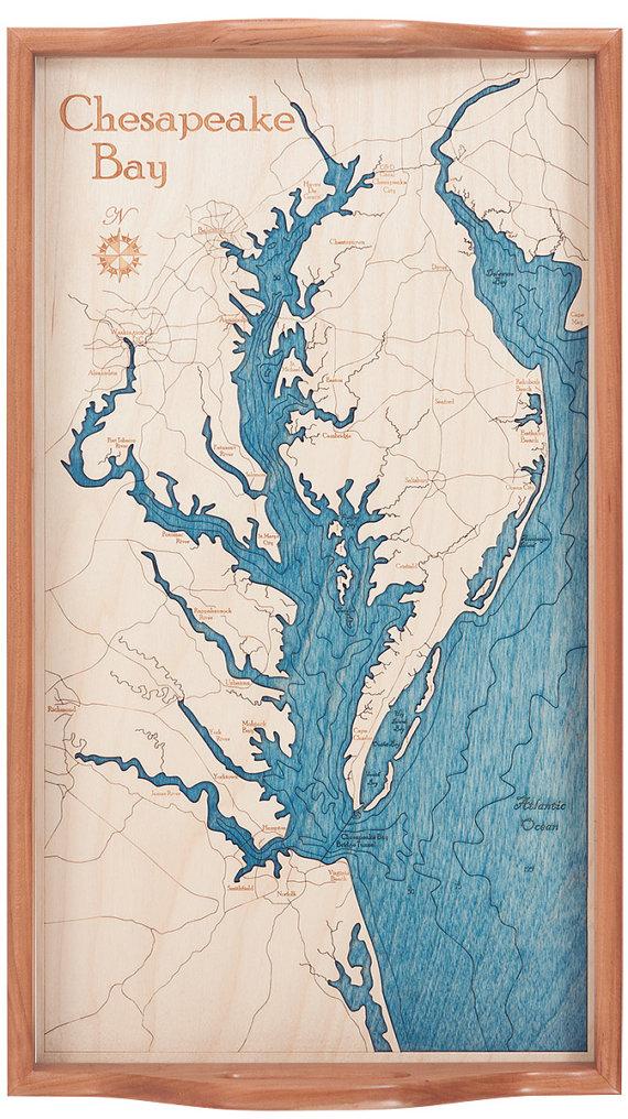 Chesapeake BayServing TrayWood ChartWood ArtWood by NauticalNorth.