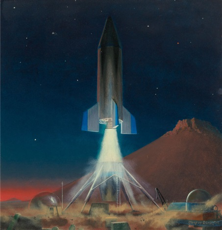 Rocket Ferry Leaving Mars, interior book illustration by Chesley.