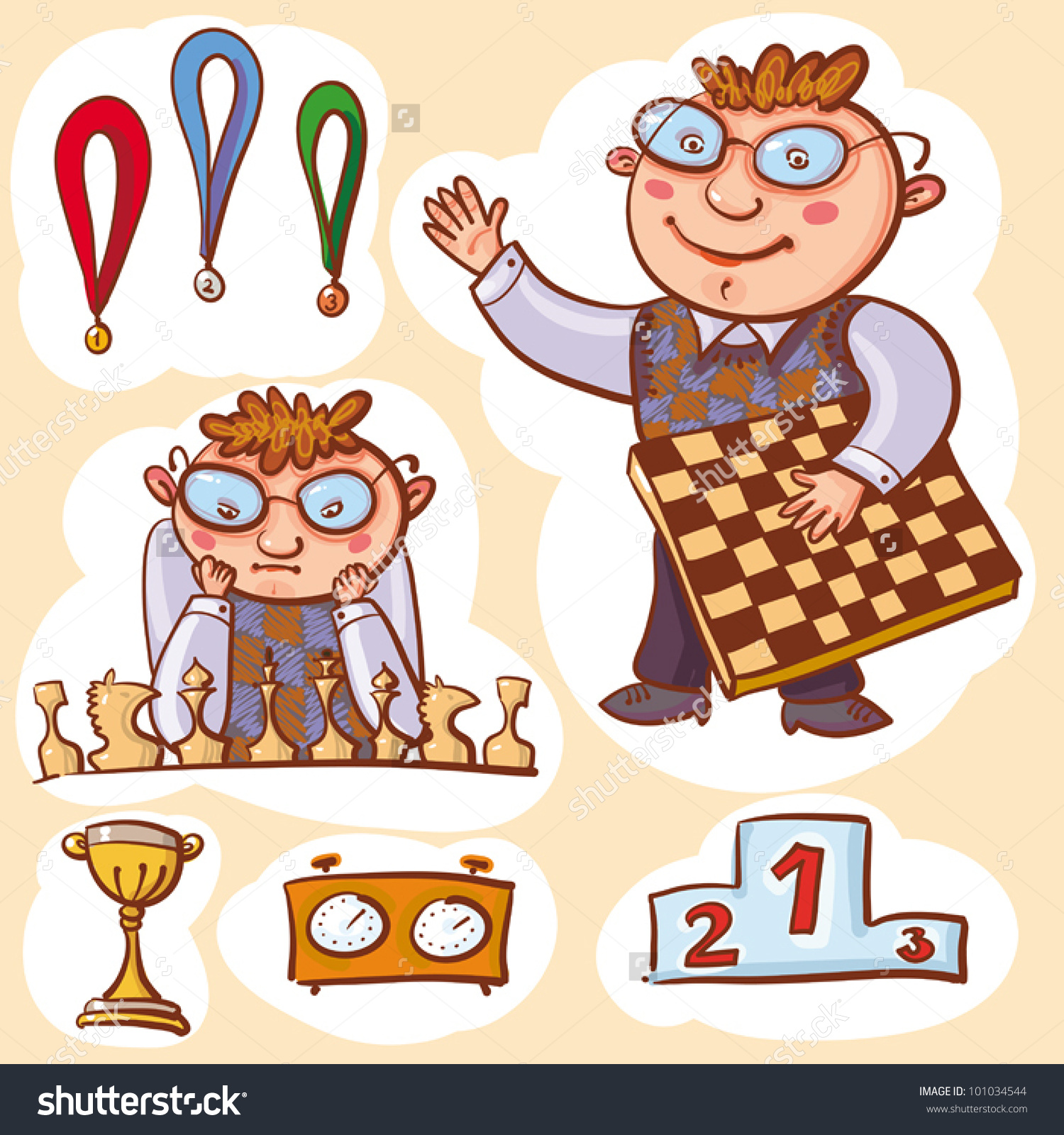 Vector Illustration Little Chess Champion Medals Stock Vector.
