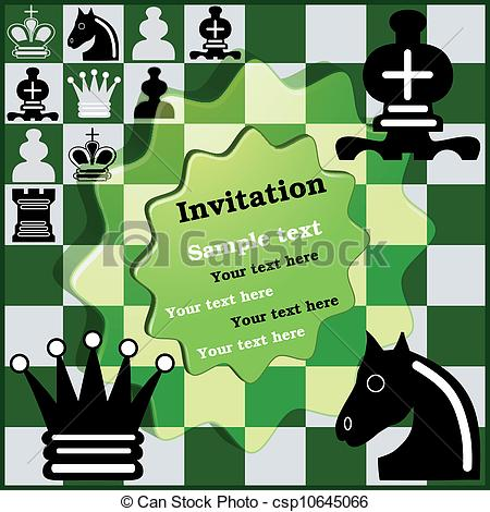 Clip Art Vector of Invitation Chess Tournament.