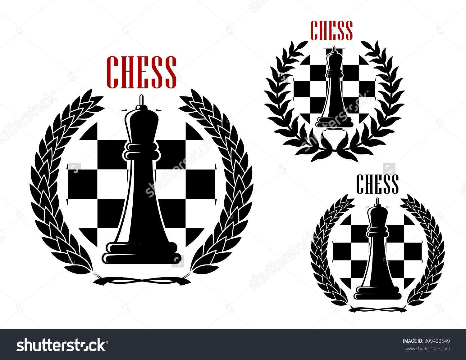 Chess Tournament Club Icons Black Queens Stock Vector 309422549.