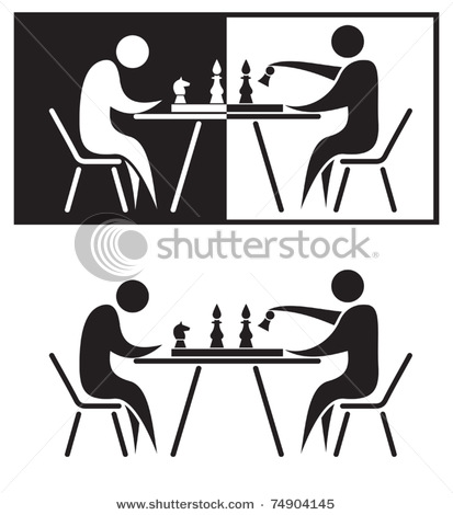 Chess Players. Black and White Clip Art Vector Illustration.