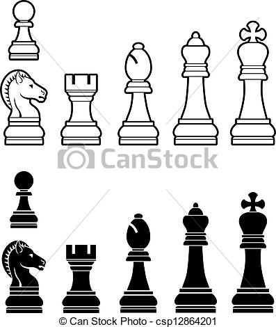 Vector Clipart of Chess pieces set.