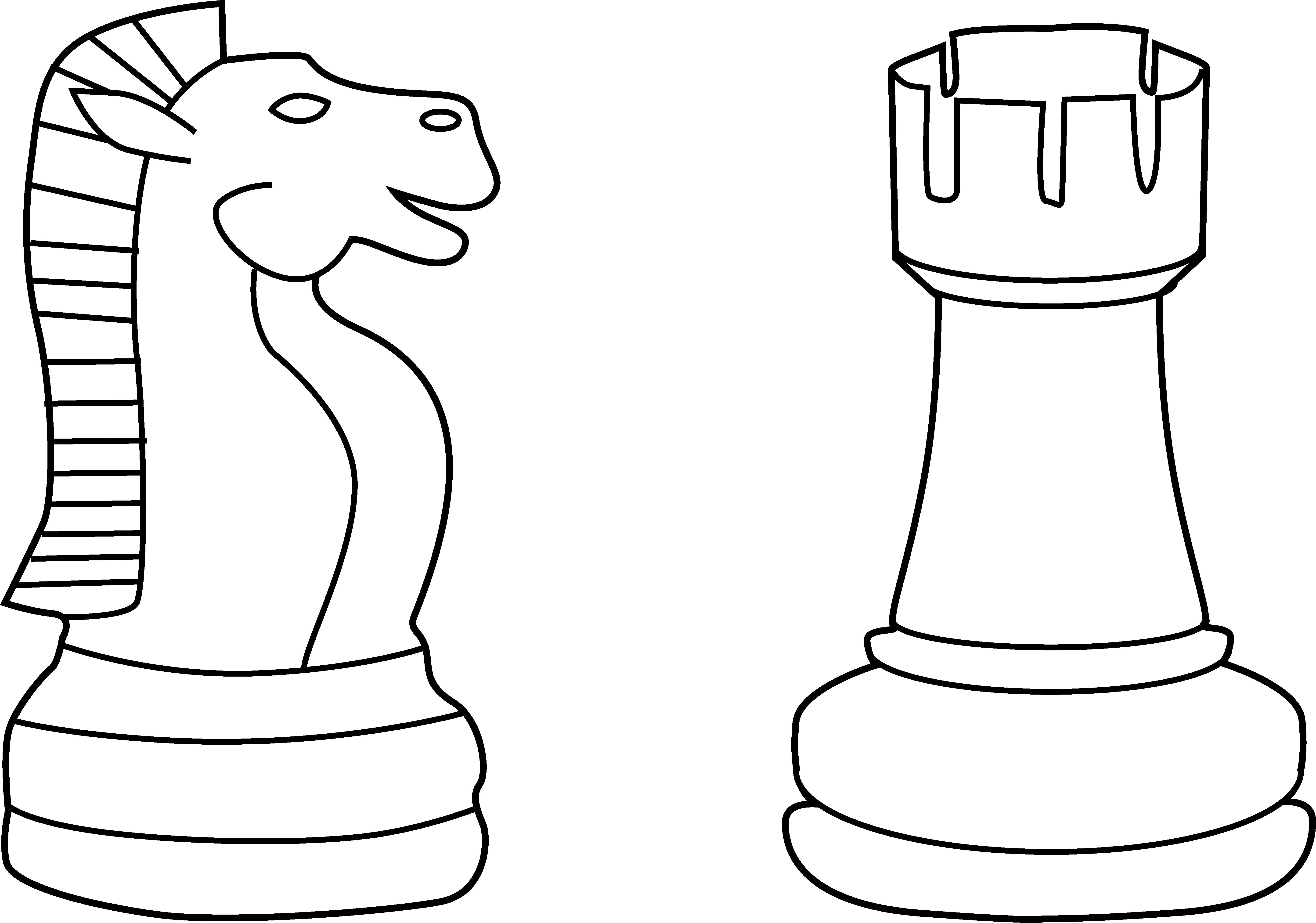 Two Chess Pieces Line Art.