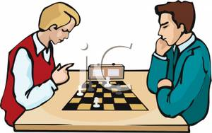 Art Image: Two Teenagers Playing a Timed Game of Chess.