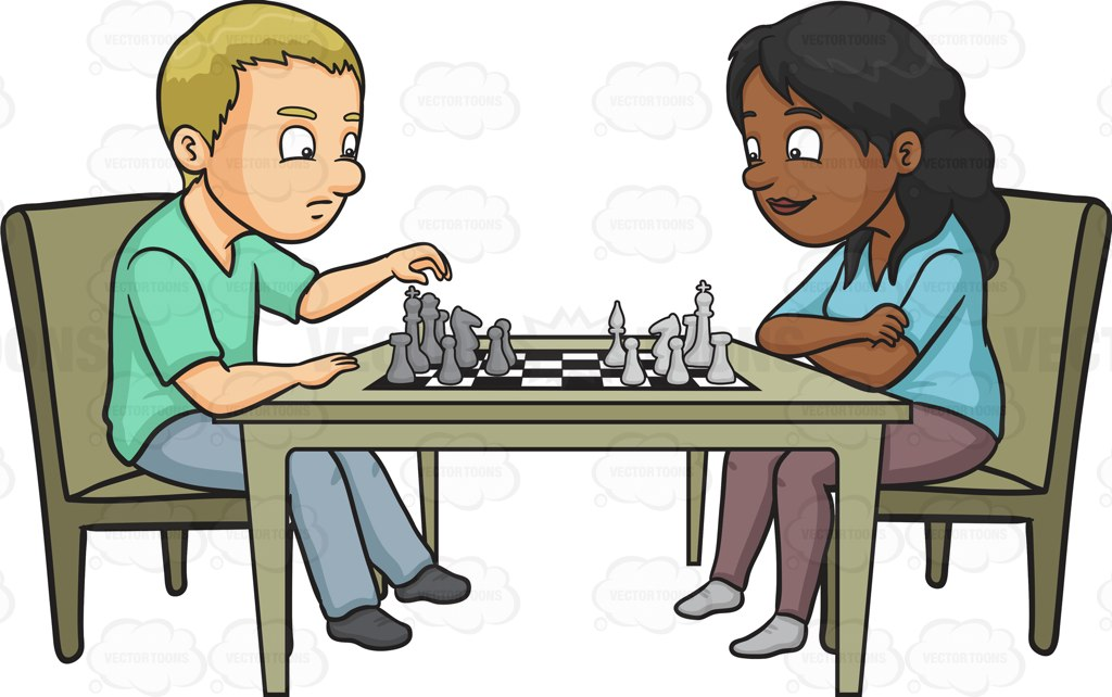 Man plays chess clipart.